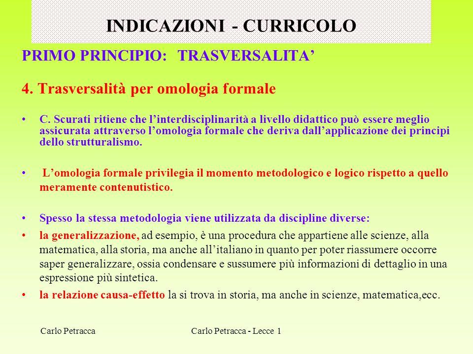 INDICAZIONI - CURRICOLO PRIMO PRINCIPIO: TRASVERSALITA 4. Trasversalità per omologia formale C. Scurati ritiene che linterdisciplinarità a livello did