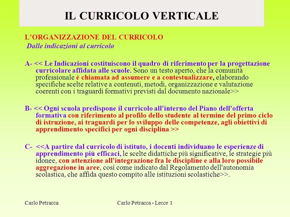 IL CURRICOLO VERTICALE LORGANIZZAZIONE DEL CURRICOLO Dalle indicazioni al curricolo A- > B- > C- >. Carlo Petracca - Lecce 1Carlo Petracca