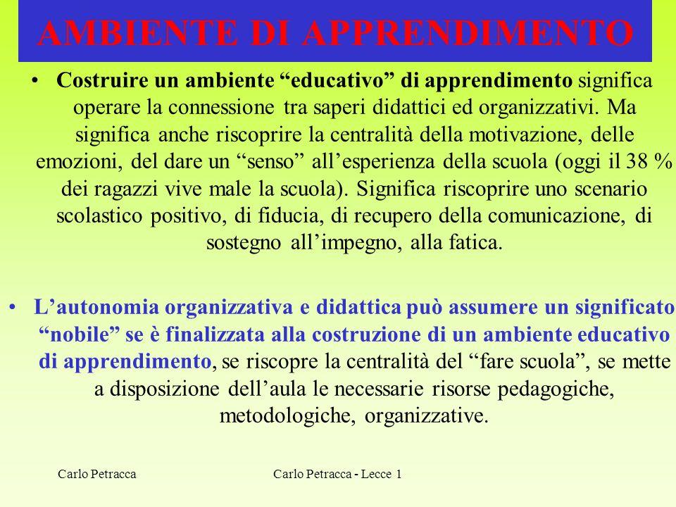 Carlo Petracca - Lecce 1 AMBIENTE DI APPRENDIMENTO Costruire un ambiente educativo di apprendimento significa operare la connessione tra saperi didatt