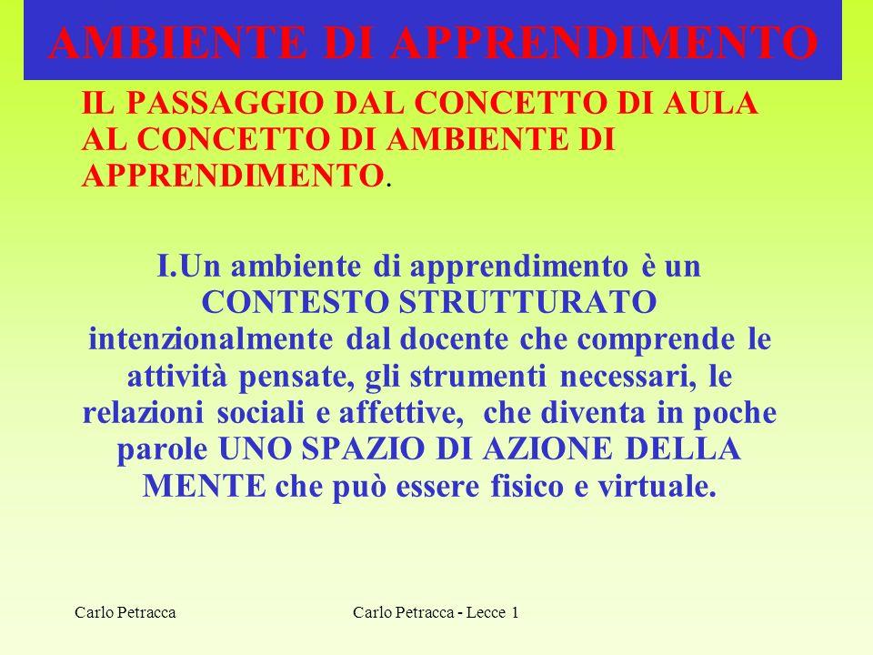 Carlo Petracca - Lecce 1 AMBIENTE DI APPRENDIMENTO IL PASSAGGIO DAL CONCETTO DI AULA AL CONCETTO DI AMBIENTE DI APPRENDIMENTO. I.Un ambiente di appren