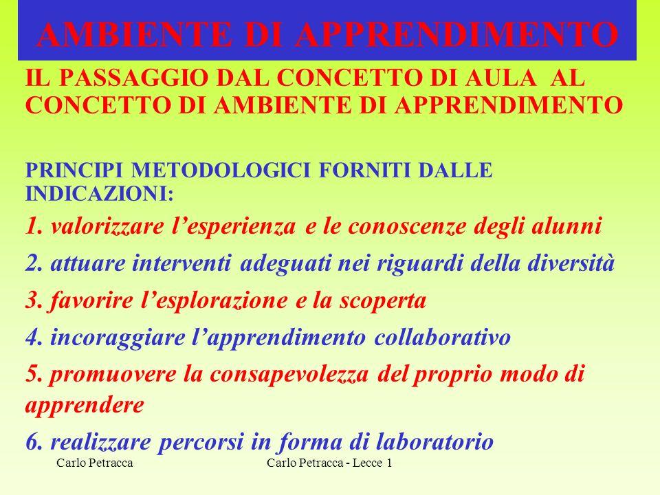 Carlo Petracca - Lecce 1 AMBIENTE DI APPRENDIMENTO IL PASSAGGIO DAL CONCETTO DI AULA AL CONCETTO DI AMBIENTE DI APPRENDIMENTO PRINCIPI METODOLOGICI FO