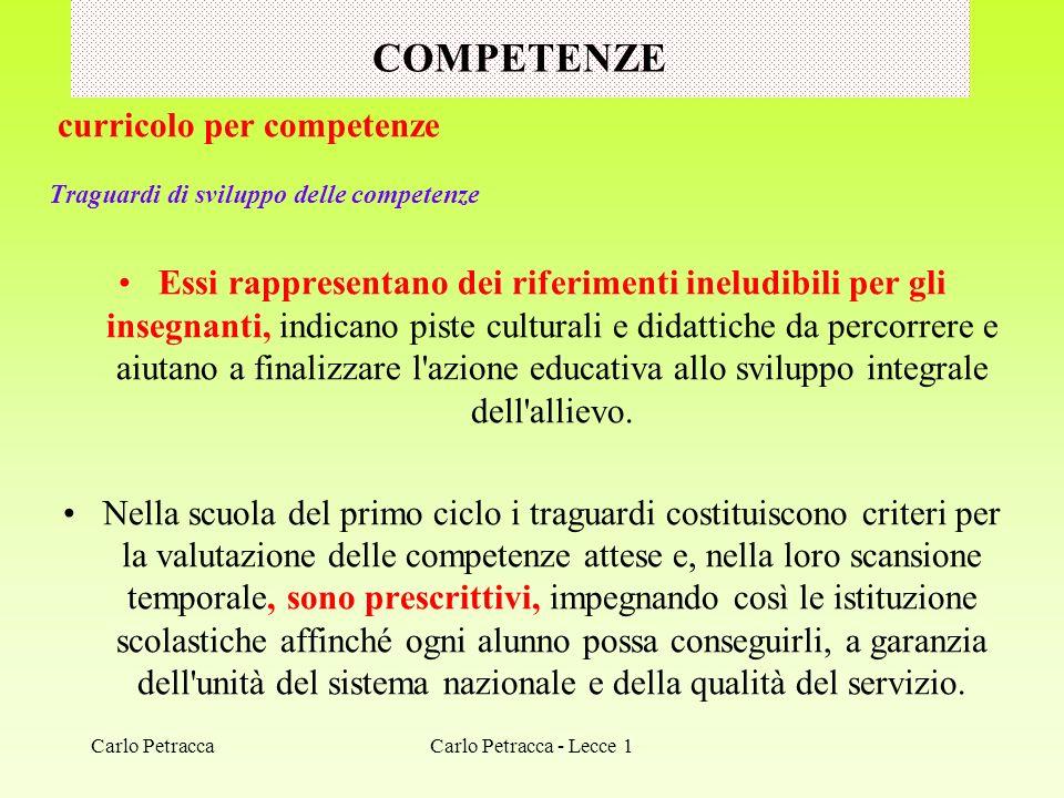 COMPETENZE curricolo per competenze Traguardi di sviluppo delle competenze Essi rappresentano dei riferimenti ineludibili per gli insegnanti, indicano