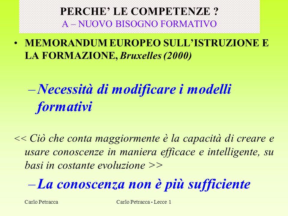 Carlo Petracca PERCHE LE COMPETENZE ? A – NUOVO BISOGNO FORMATIVO MEMORANDUM EUROPEO SULLISTRUZIONE E LA FORMAZIONE, Bruxelles (2000) –Necessità di mo