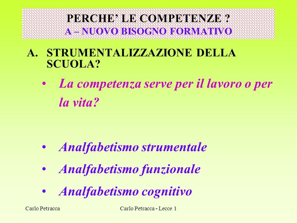 Carlo Petracca A.STRUMENTALIZZAZIONE DELLA SCUOLA? La competenza serve per il lavoro o per la vita? Analfabetismo strumentale Analfabetismo funzionale