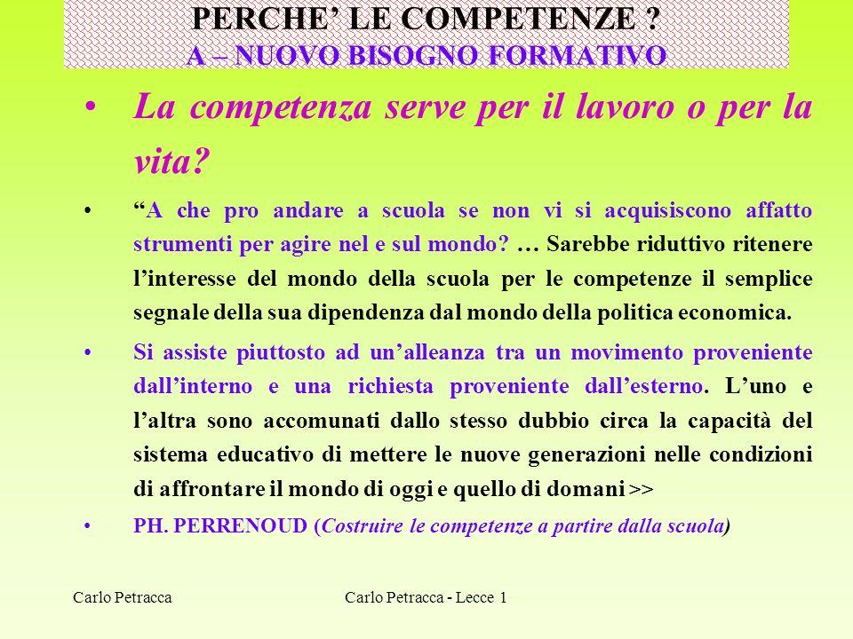 Carlo Petracca La competenza serve per il lavoro o per la vita? A che pro andare a scuola se non vi si acquisiscono affatto strumenti per agire nel e