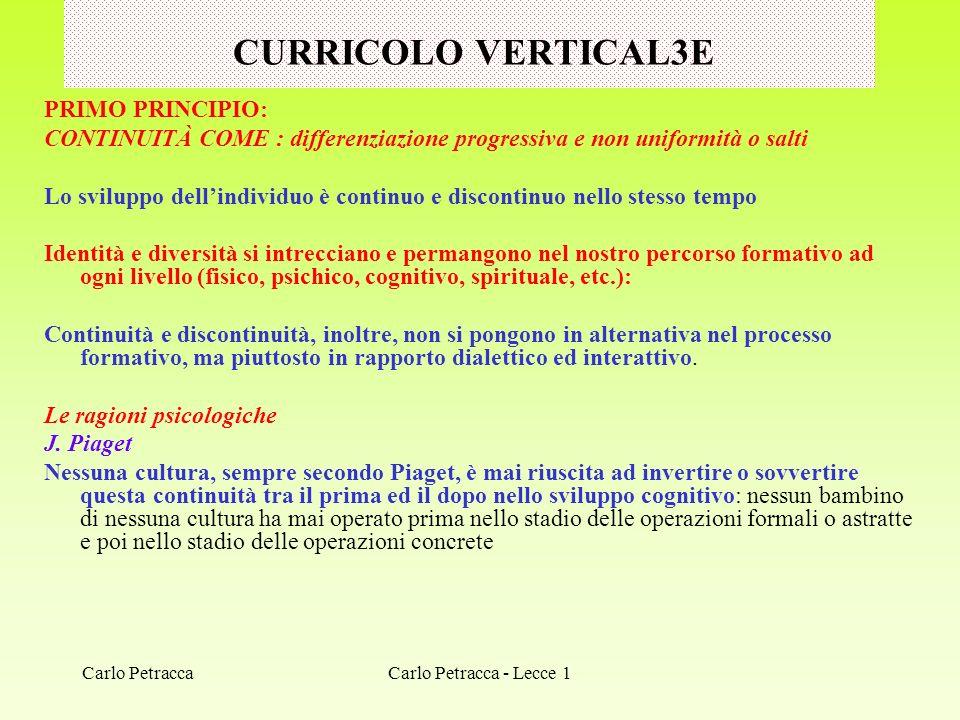 CURRICOLO VERTICAL3E PRIMO PRINCIPIO: CONTINUITÀ COME : differenziazione progressiva e non uniformità o salti Lo sviluppo dellindividuo è continuo e d
