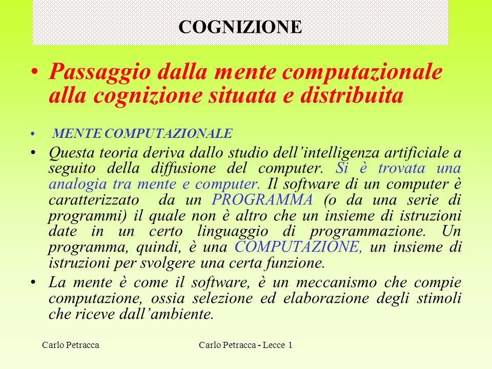 COGNIZIONE Passaggio dalla mente computazionale alla cognizione situata e distribuita MENTE COMPUTAZIONALE Questa teoria deriva dallo studio dellintel