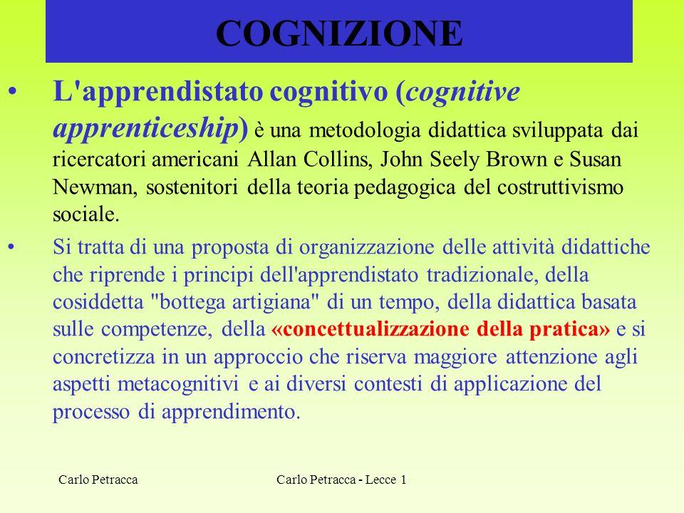 COGNIZIONE L'apprendistato cognitivo (cognitive apprenticeship) è una metodologia didattica sviluppata dai ricercatori americani Allan Collins, John S