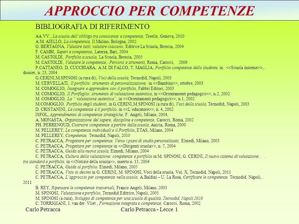 APPROCCIO PER COMPETENZE BIBLIOGRAFIA DI RIFERIMENTO AA.VV., La scuola dellobbligo tra conoscenze e competenze, Treelle, Genova, 2010 A.M. AIELLO, La