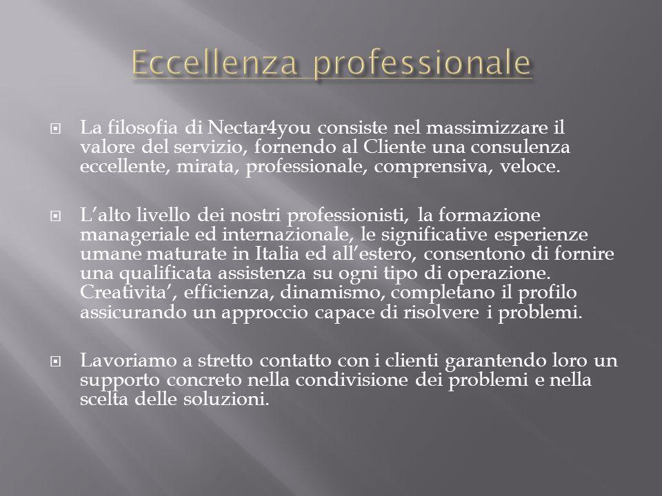 La filosofia di Nectar4you consiste nel massimizzare il valore del servizio, fornendo al Cliente una consulenza eccellente, mirata, professionale, com
