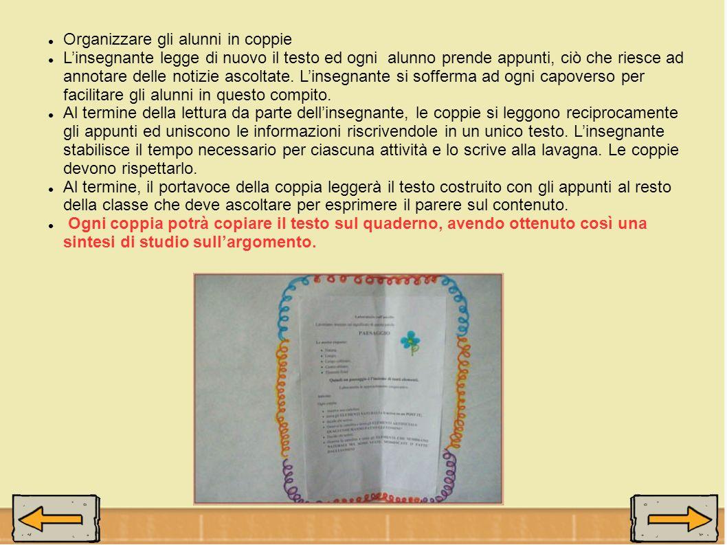 Organizzare gli alunni in coppie Linsegnante legge di nuovo il testo ed ogni alunno prende appunti, ciò che riesce ad annotare delle notizie ascoltate