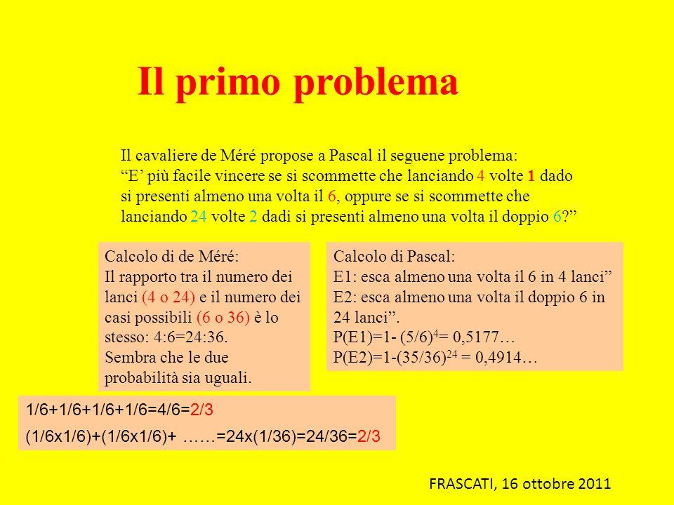 Il primo problema Il cavaliere de Méré propose a Pascal il seguene problema: E più facile vincere se si scommette che lanciando 4 volte 1 dado si pres