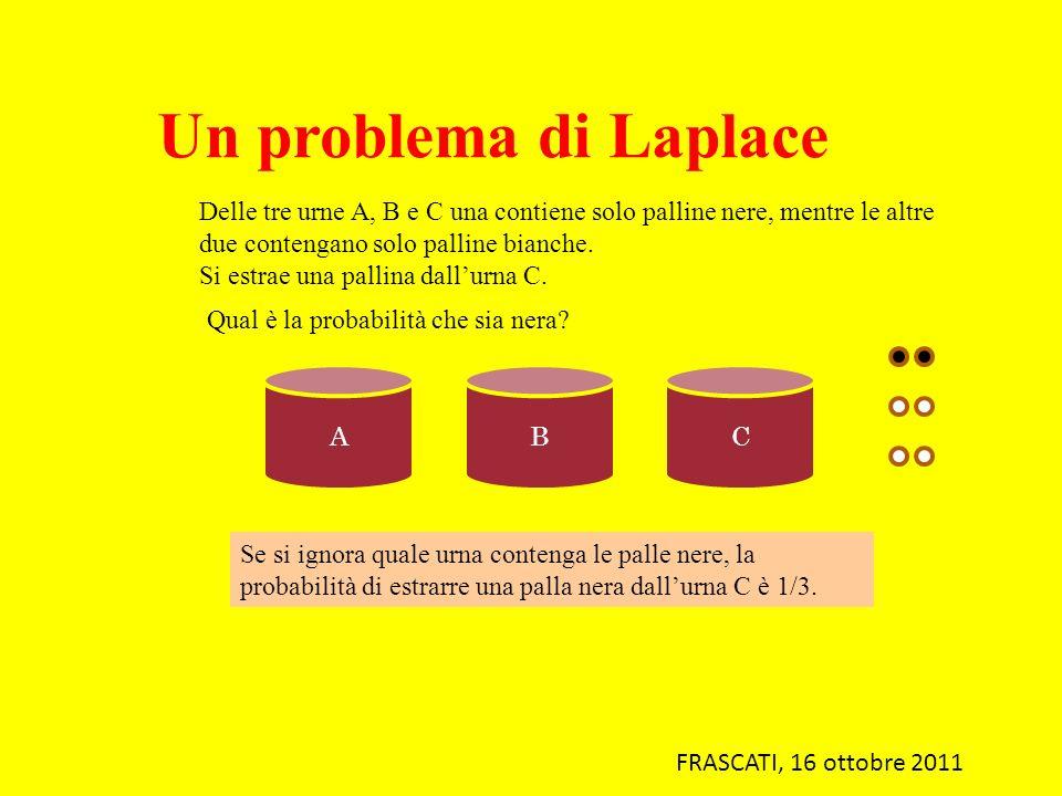 Un problema di Laplace Delle tre urne A, B e C una contiene solo palline nere, mentre le altre due contengano solo palline bianche. Si estrae una pall