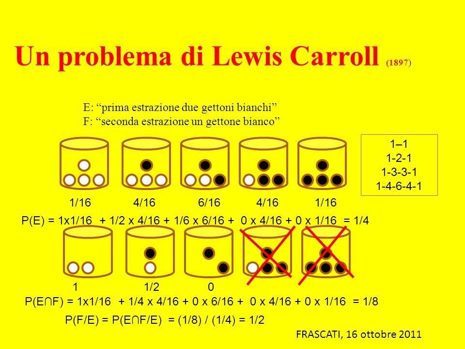 E: prima estrazione due gettoni bianchi F: seconda estrazione un gettone bianco 1–1 1-2-1 1-3-3-1 1-4-6-4-1 1/16 4/16 6/16 4/16 1/16 P(E) = 1x1/16 + 1
