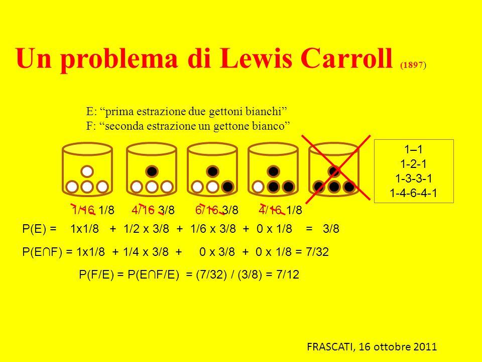 E: prima estrazione due gettoni bianchi F: seconda estrazione un gettone bianco 1–1 1-2-1 1-3-3-1 1-4-6-4-1 1/16 1/8 4/16 3/8 6/16 3/8 4/16 1/8 P(E) =