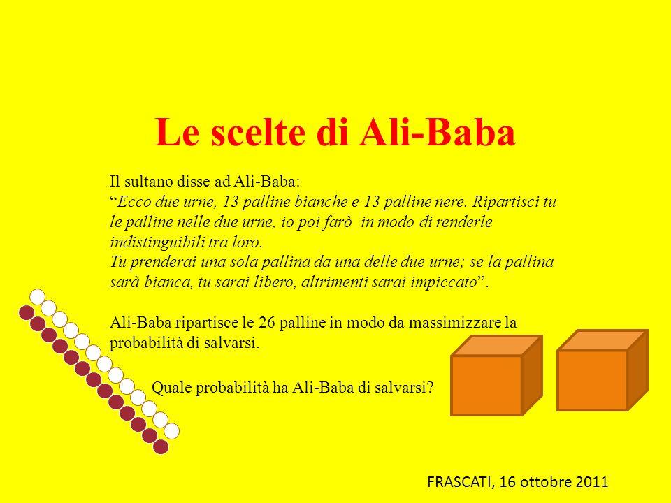 Le scelte di Ali-Baba Il sultano disse ad Ali-Baba: Ecco due urne, 13 palline bianche e 13 palline nere. Ripartisci tu le palline nelle due urne, io p