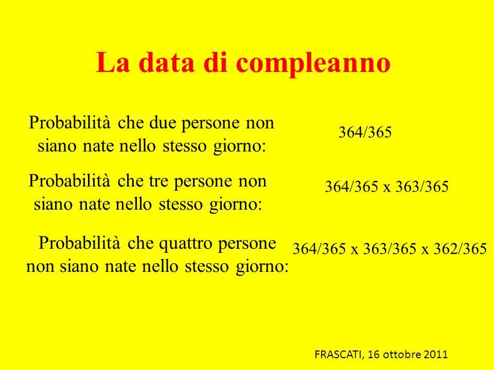 FRASCATI, 16 ottobre 2011 Probabilità che due persone non siano nate nello stesso giorno: 364/365 Probabilità che tre persone non siano nate nello ste