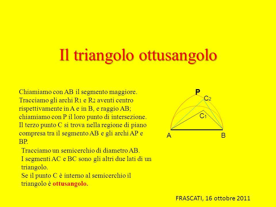 Il triangolo ottusangolo Chiamiamo con AB il segmento maggiore. Tracciamo gli archi R 1 e R 2 aventi centro rispettivamente in A e in B, e raggio AB;