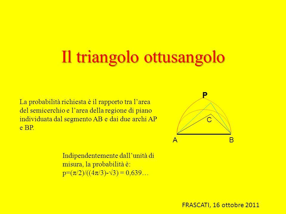 Il triangolo ottusangolo La probabilità richiesta è il rapporto tra larea del semicerchio e larea della regione di piano individuata dal segmento AB e