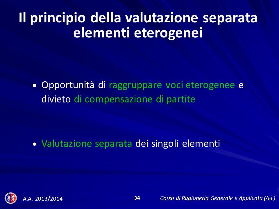 Il principio della valutazione separata elementi eterogenei Opportunità di raggruppare voci eterogenee e divieto di compensazione di partite Valutazione separata dei singoli elementi A.A.