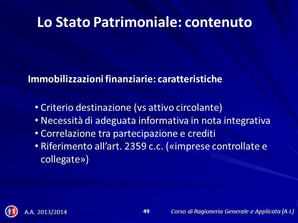 Immobilizzazioni finanziarie: caratteristiche Lo Stato Patrimoniale: contenuto A.A.