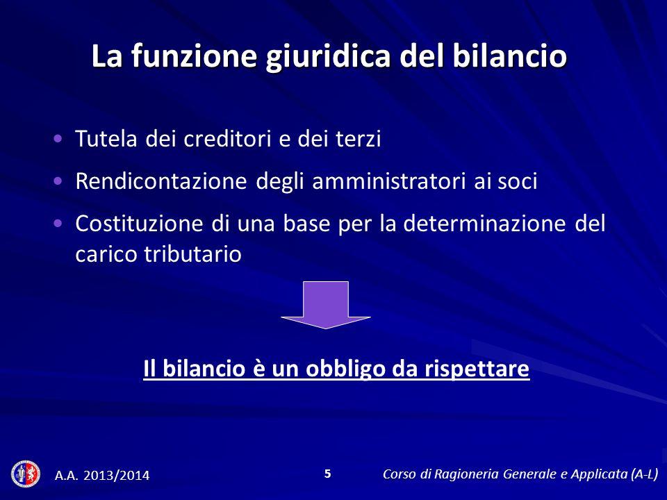 La funzione giuridica del bilancio Tutela dei creditori e dei terzi Rendicontazione degli amministratori ai soci Costituzione di una base per la determinazione del carico tributario Il bilancio è un obbligo da rispettare A.A.