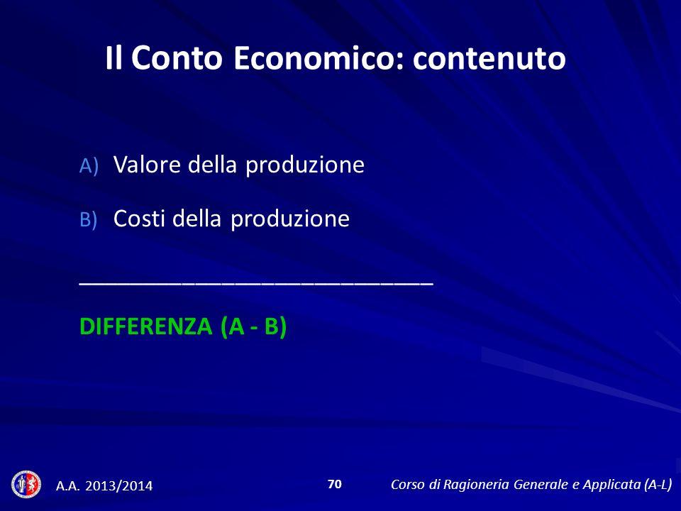 A) Valore della produzione B) Costi della produzione ___________________________ DIFFERENZA (A - B) Il Conto Economico: contenuto A.A.