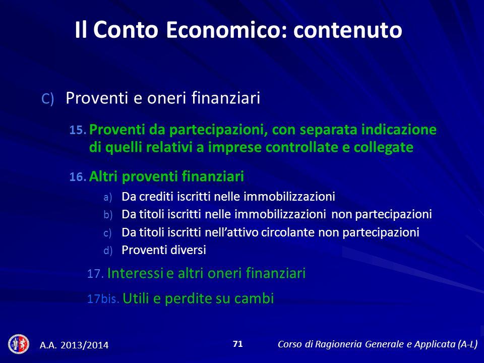 C) Proventi e oneri finanziari 15.