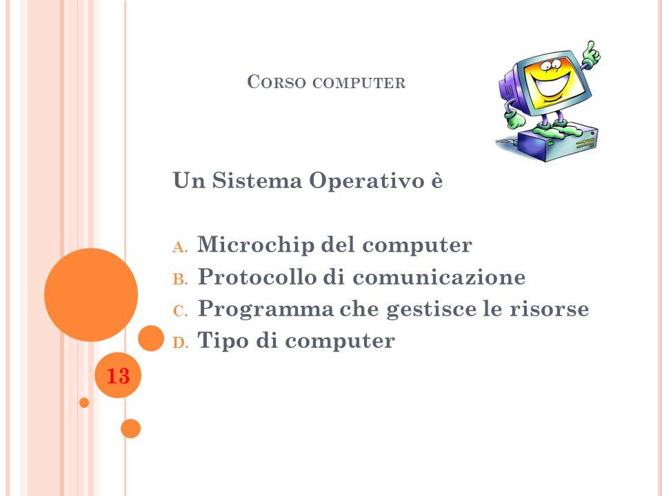 C ORSO COMPUTER Un Sistema Operativo è A. Microchip del computer B. Protocollo di comunicazione C. Programma che gestisce le risorse D. Tipo di comput