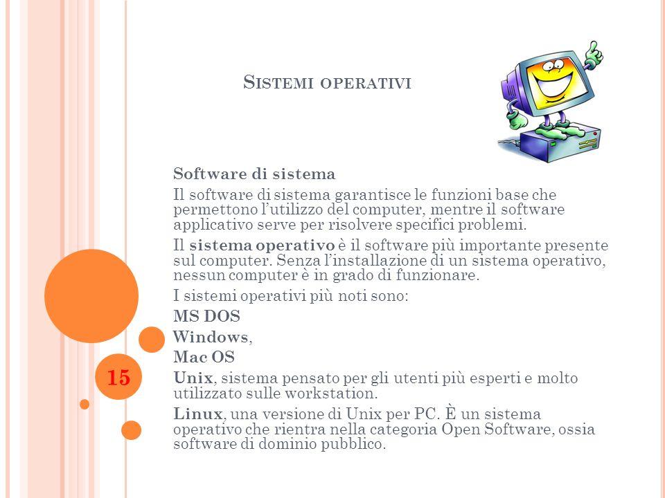 S ISTEMI OPERATIVI Software di sistema Il software di sistema garantisce le funzioni base che permettono lutilizzo del computer, mentre il software ap