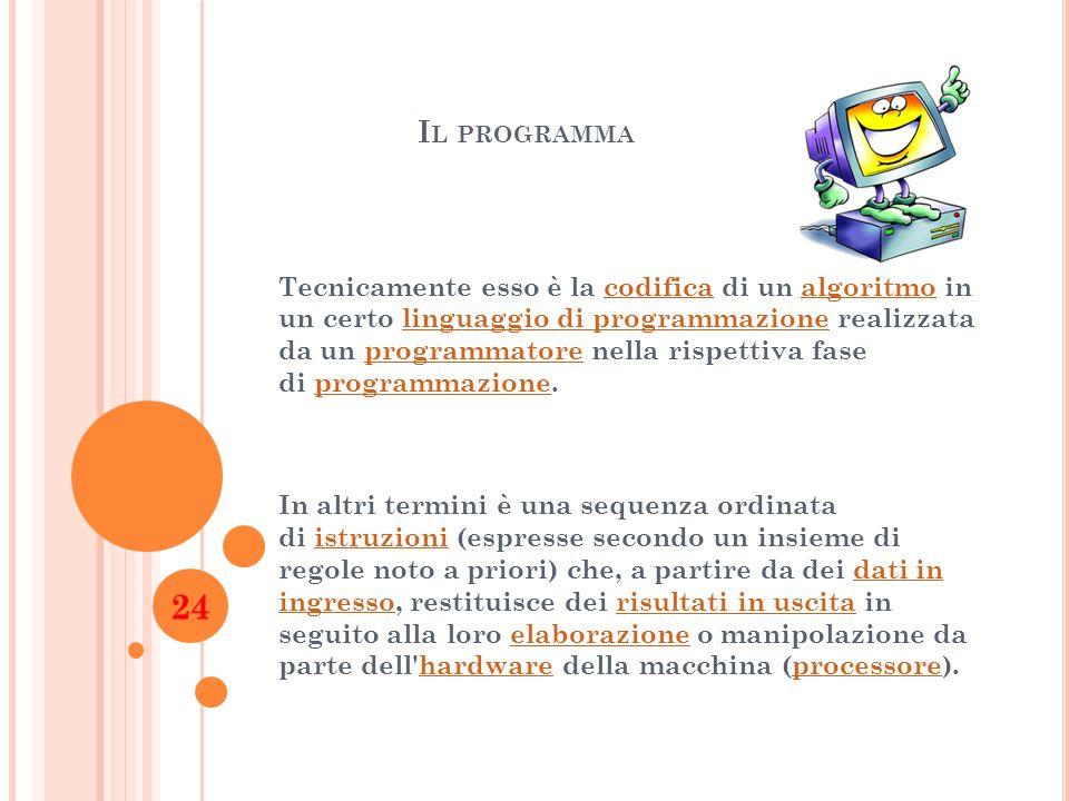I L PROGRAMMA Tecnicamente esso è la codifica di un algoritmo in un certo linguaggio di programmazione realizzata da un programmatore nella rispettiva