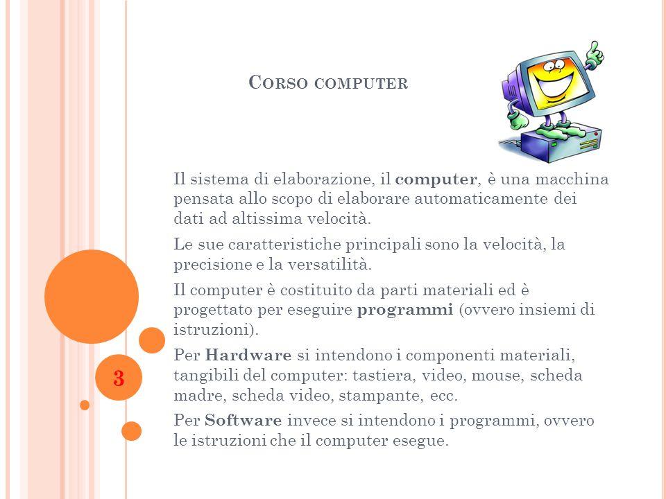 C ORSO COMPUTER Il sistema di elaborazione, il computer, è una macchina pensata allo scopo di elaborare automaticamente dei dati ad altissima velocità