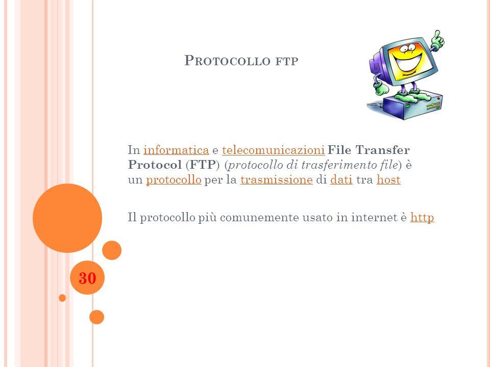 P ROTOCOLLO FTP In informatica e telecomunicazioni File Transfer Protocol ( FTP ) ( protocollo di trasferimento file ) è un protocollo per la trasmiss