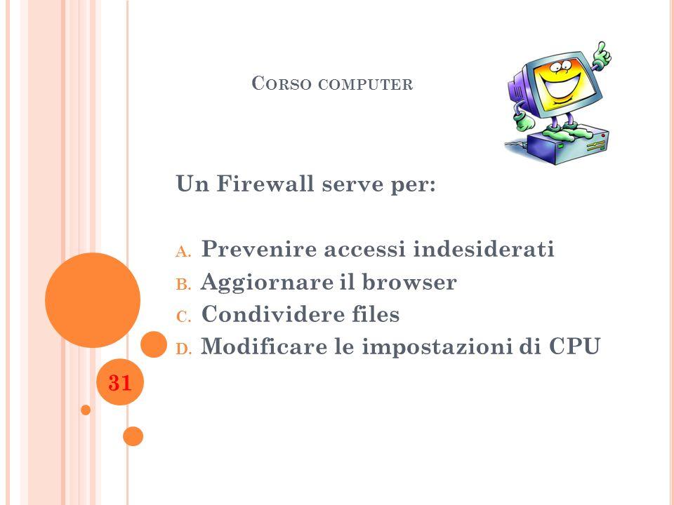 C ORSO COMPUTER Un Firewall serve per: A. Prevenire accessi indesiderati B. Aggiornare il browser C. Condividere files D. Modificare le impostazioni d