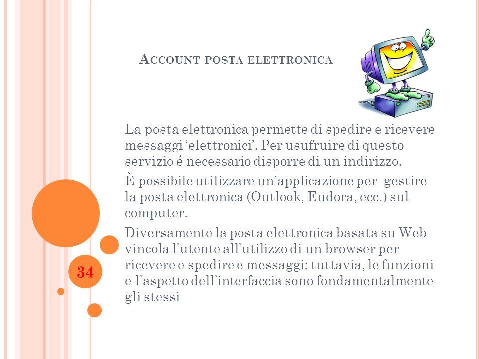 A CCOUNT POSTA ELETTRONICA La posta elettronica permette di spedire e ricevere messaggi elettronici. Per usufruire di questo servizio é necessario dis