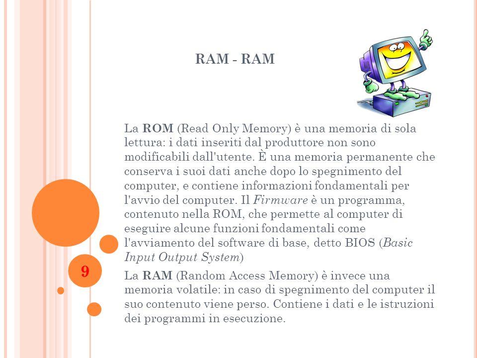 RAM - RAM La ROM (Read Only Memory) è una memoria di sola lettura: i dati inseriti dal produttore non sono modificabili dall'utente. È una memoria per