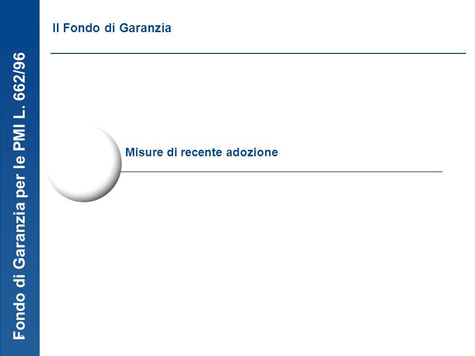 Fondo di Garanzia per le PMI L. 662/96 12 Misure di recente adozione Il Fondo di Garanzia