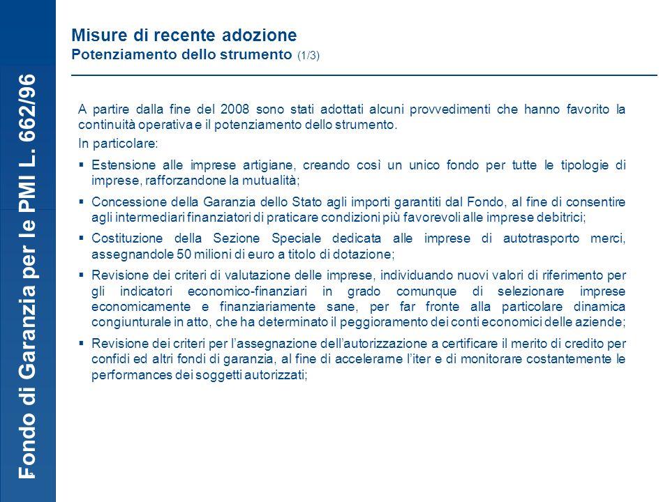 Fondo di Garanzia per le PMI L. 662/96 13 Misure di recente adozione Potenziamento dello strumento (1/3) A partire dalla fine del 2008 sono stati adot