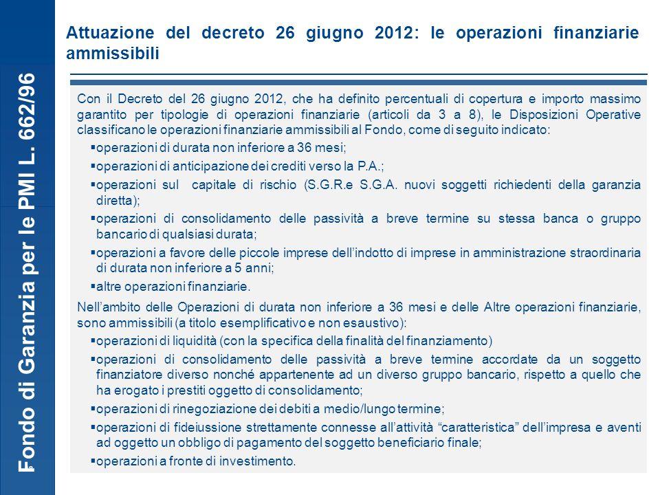 Fondo di Garanzia per le PMI L. 662/96 18 Attuazione del decreto 26 giugno 2012: le operazioni finanziarie ammissibili Le operazioni finanziarie ammis