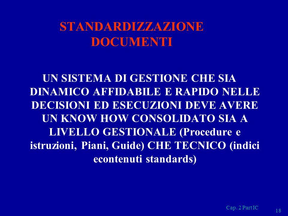 Cap. 2 Part IC 18 STANDARDIZZAZIONE DOCUMENTI UN SISTEMA DI GESTIONE CHE SIA DINAMICO AFFIDABILE E RAPIDO NELLE DECISIONI ED ESECUZIONI DEVE AVERE UN