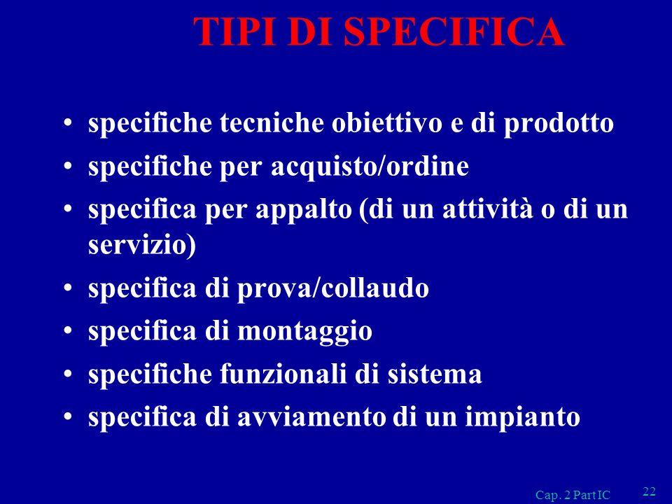TIPI DI SPECIFICA specifiche tecniche obiettivo e di prodotto specifiche per acquisto/ordine specifica per appalto (di un attività o di un servizio) s