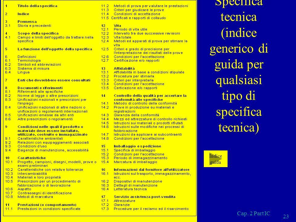 Cap. 2 Part IC 23 Specifica tecnica (indice generico di guida per qualsiasi tipo di specifica tecnica) Indice guida