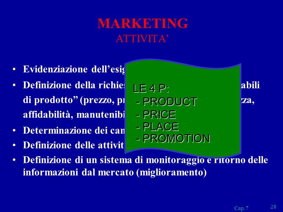 Cap.7 28 MARKETING ATTIVITA Evidenziazione dellesigenza Definizione della richiesta di mercato e delle variabili di prodotto (prezzo, prestazioni, con