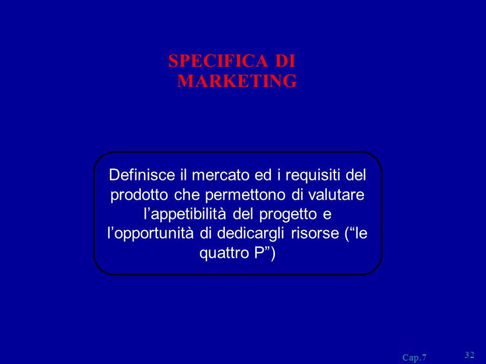 Cap.7 32 SPECIFICA DI MARKETING Definisce il mercato ed i requisiti del prodotto che permettono di valutare lappetibilità del progetto e lopportunità