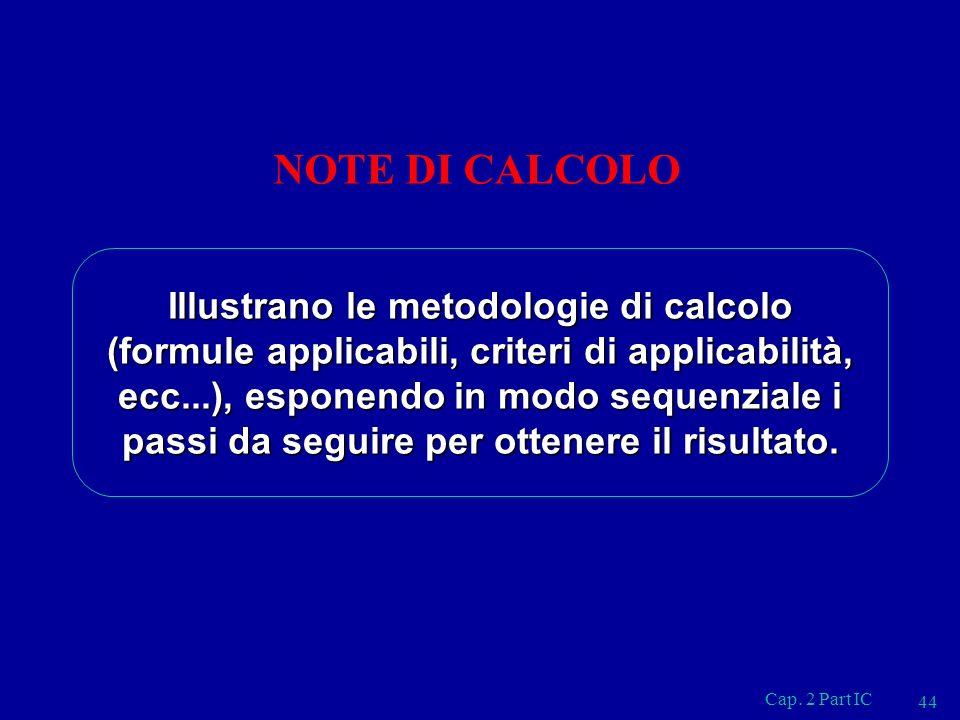 Cap. 2 Part IC 44 NOTE DI CALCOLO Illustrano le metodologie di calcolo (formule applicabili, criteri di applicabilità, ecc...), esponendo in modo sequ