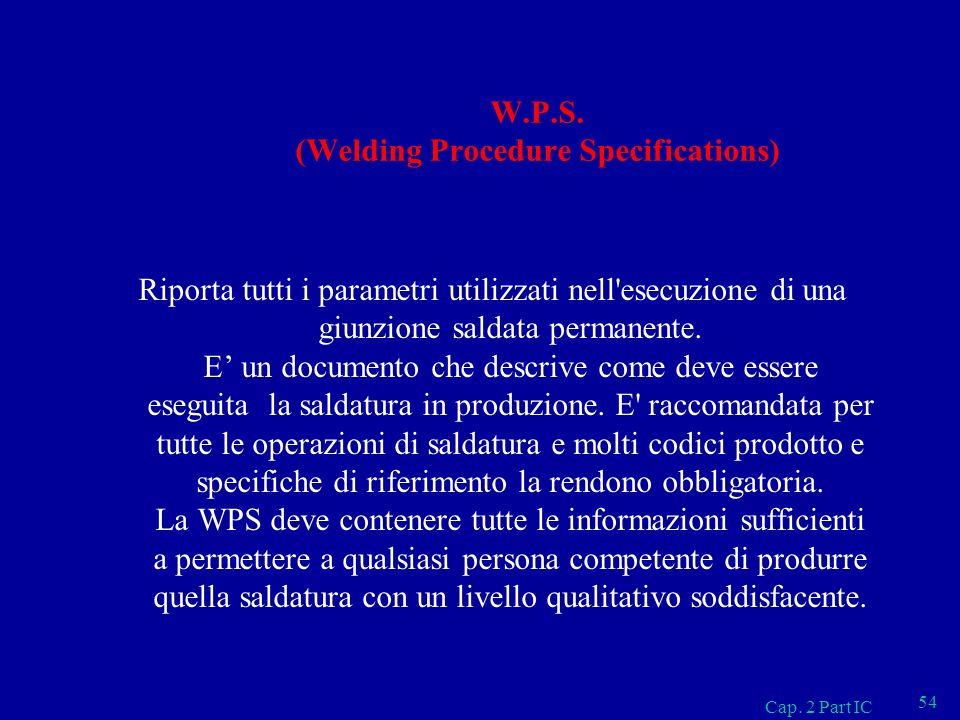 W.P.S. (Welding Procedure Specifications) Riporta tutti i parametri utilizzati nell'esecuzione di una giunzione saldata permanente. E un documento che