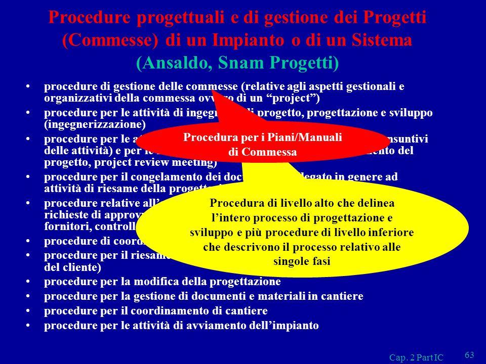 Cap. 2 Part IC 63 Procedure progettuali e di gestione dei Progetti (Commesse) di un Impianto o di un Sistema (Ansaldo, Snam Progetti) procedure di ges