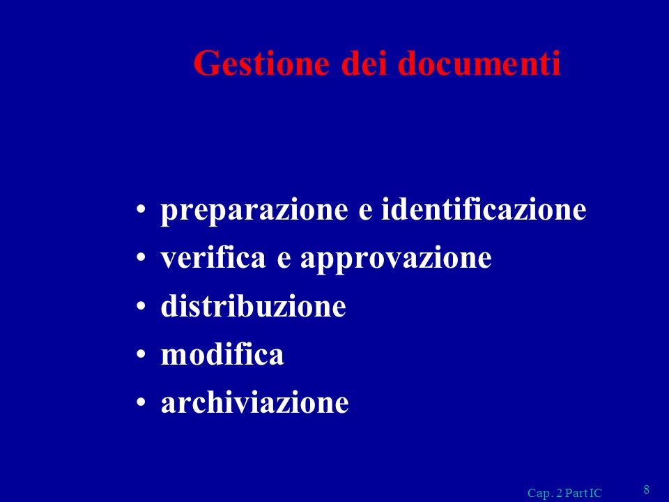 Gestione dei documenti preparazione e identificazione verifica e approvazione distribuzione modifica archiviazione Cap. 2 Part IC 8