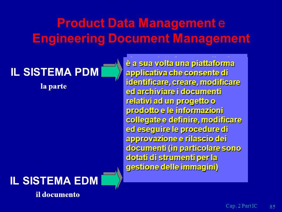 Cap. 2 Part IC 85 Product Data Management e Engineering Document Management è una piattaforma applicativa, che consente di identificare, creare e modi