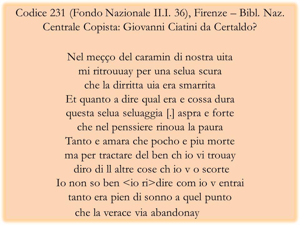 Codice 231 (Fondo Nazionale II.I. 36), Firenze – Bibl. Naz. Centrale Copista: Giovanni Ciatini da Certaldo? Nel meçço del caramin di nostra uita mi ri